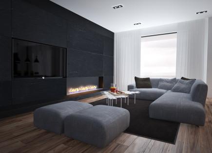 exposed flat screen tv in contemporary living room - Sergey Makhno via Atticmag