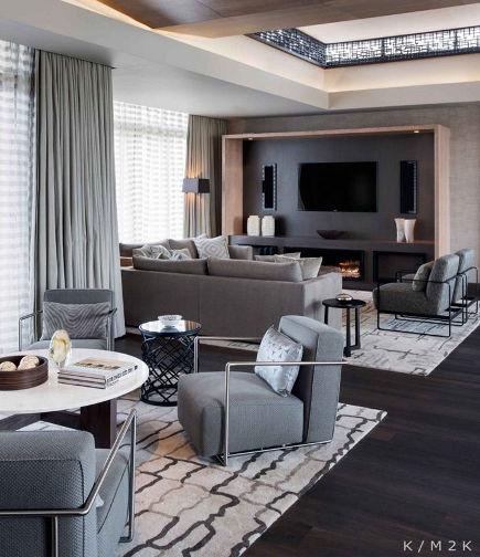 living/media room with flat screen tv niche - Jeffrey Alan Marks Design via Atticmag