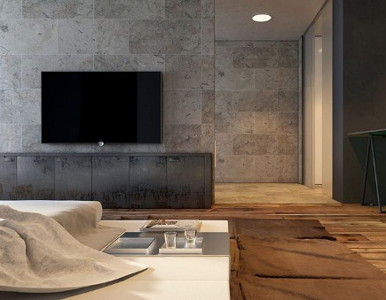bedroom with flat screen tv hung on the wall - Sergey Makhno via Atticmag