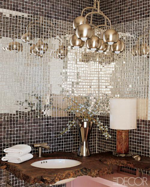 Miami powder room with mosaic mirror tiles insert - Elle Decor via Atticmag