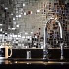 Backsplash of Chrysallis mosaic mirror tiles - Ann Sacks via Atticmag