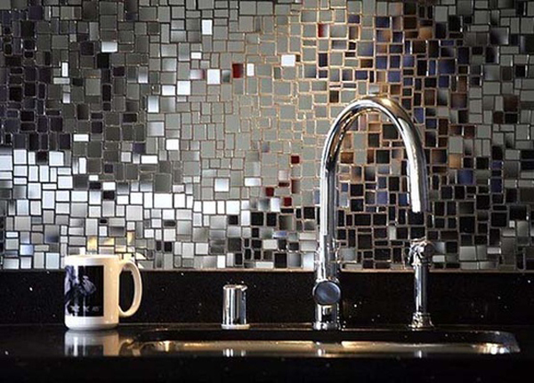 Backsplash Of Chrysallis Mosaic Mirror Tiles Ann Sacks Via Atticmag