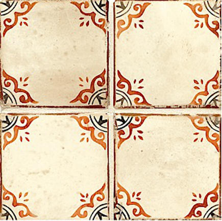 "orange kitchen cabinets - Contessa Pagoda 4-5/8"" hand-waxed tile in Paprika and black - Walker Zanger via Atticmag"