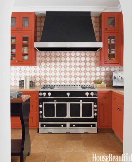 Orange Kitchen Cabinets Paprika Color By Melanie Coddington House Beautiful Via Atticmag
