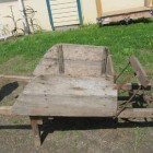 country auction - vintage country wooden wheelbarrow - Atticmag