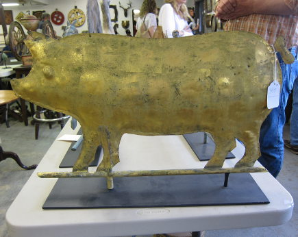 gilded copper pig weather vane at a country auction - Atticmag