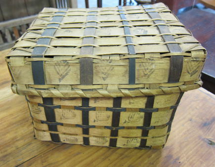 19th century wood splint basket with potato stamp decoration at a country auction - Atticmag
