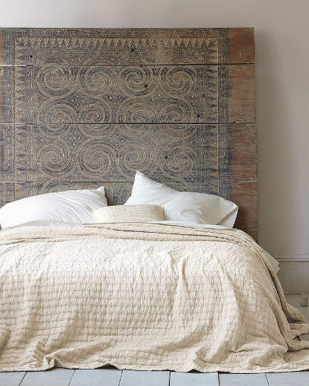 Wall Mounted Headboards   Wood Plank Headboard With Vitruvian Scoll  Incising U2013 Eileen Fisher Via Atticmag