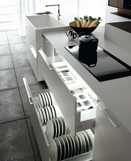 kitchen cabinet lighting - Modern Italian Cesar Kalea white cabinets with illuminated cutlery and dishware drawers - Cesar via Atticmag
