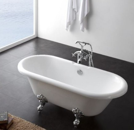 freestanding bathtubs- Duchess free-standing claw-foot acrylic bathtub- bathandshower.com via atticmag