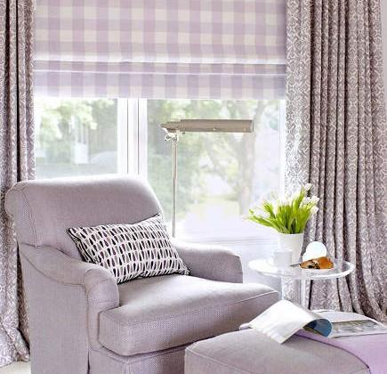window done in lavender print fabrics with Roman shade under draperies - Amanda Nisbet via Atticmag