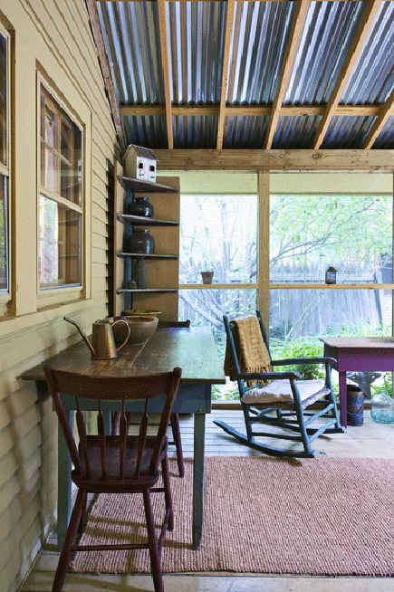 primitive screen porch with corrugated roof - winstonsalemmonthly via atticmag