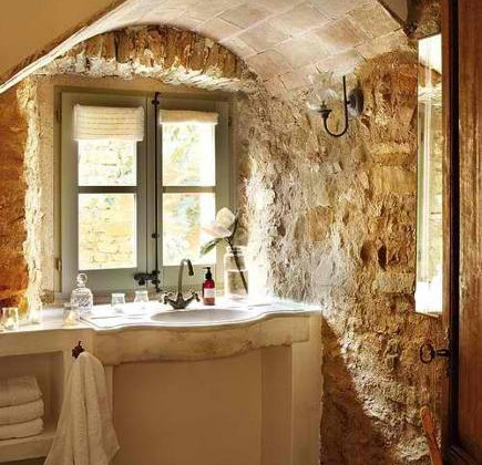 stone wall bath with marble sink in an old house – A Detailed House via Atticmag
