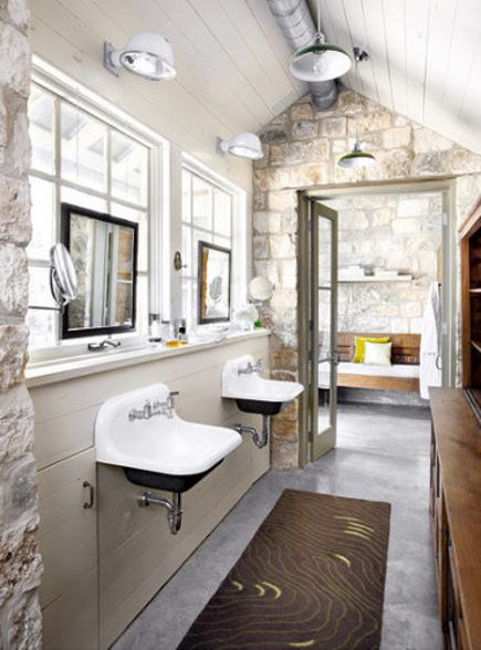 stone wall bath with utility sinks – Ryann Ford via Atticmag