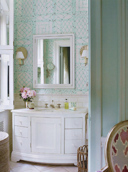 aqua and white Lyford Trellis bathroom wallpaper by China Seas - Quadrille via Atticmag
