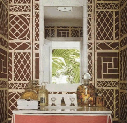 bathroom wallpaper - brown and natural Lyford Trellis wallpaper by China Seas - Quadrille via Atticmag