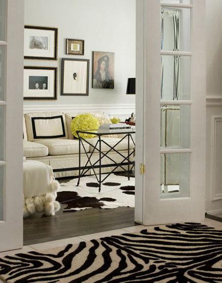 zebra print carpets in Irene Langlois' Ottawa home hallway – hgtvca via Atticmag