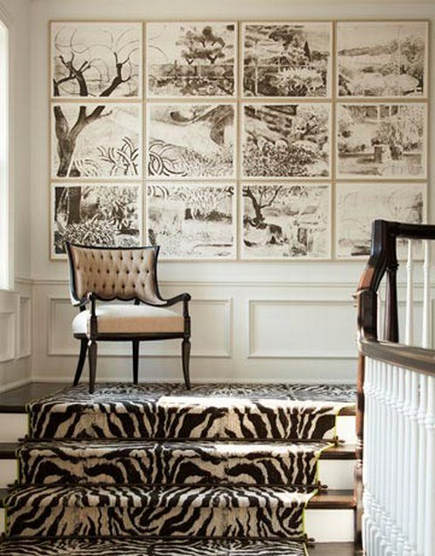 zebra print carpets on a stair & landing edged in lime by Patterson, Flynn & Martin – House Beautiful via Atticmag