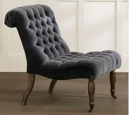 armless chairs - Caroline Slipper chair with button-tufted back and seat – Pottery Barn via Atticmag
