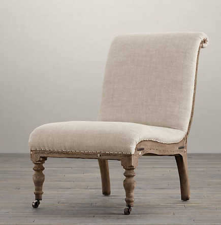 armless chairs - deconstructed French Slipper Chair with tight seat and back – Restoration Hardware via Atticmag