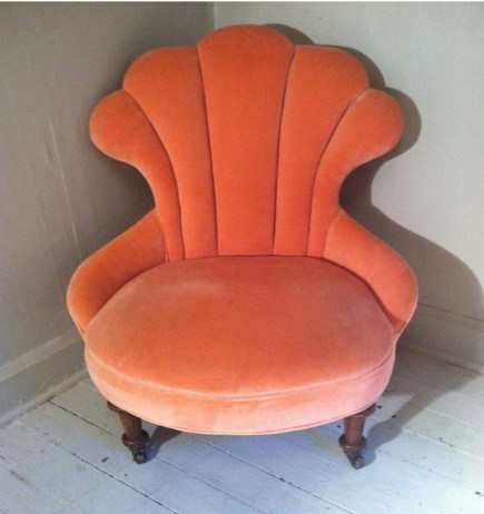 armless chairs - shell-back channel tufted vintage slipper chair – Furnishly.com via Atticmag