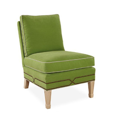 Slipper Chair 1561-01 in velvet with loose cushions, nailhead trim and spade Feet – Lee Industries via Atticmag