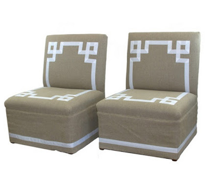 Skirted linen-covered slipper chairs with Greek fret ribbon design – One King's Lane via Atticmag