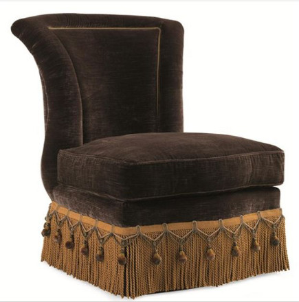 Evelyn Armless Slipper Chair with Crystal Bead Button Tufts, Bullion Fringe and Tassel Skirt – Olindes via Atticmag
