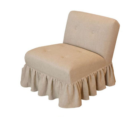 Linen covered vintage slipper chair with gathered skirt and button detail – Found for Home via Atticmag