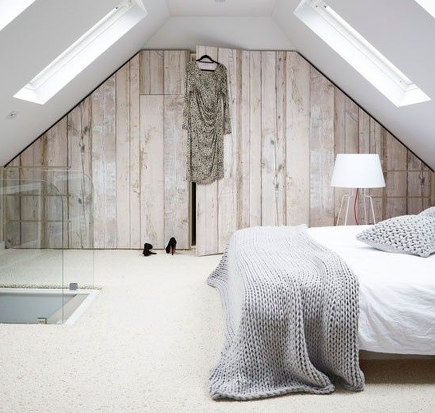 attic bedroom accent wall - faux wood closet wall in attic bedroom - livingetc via atticmag