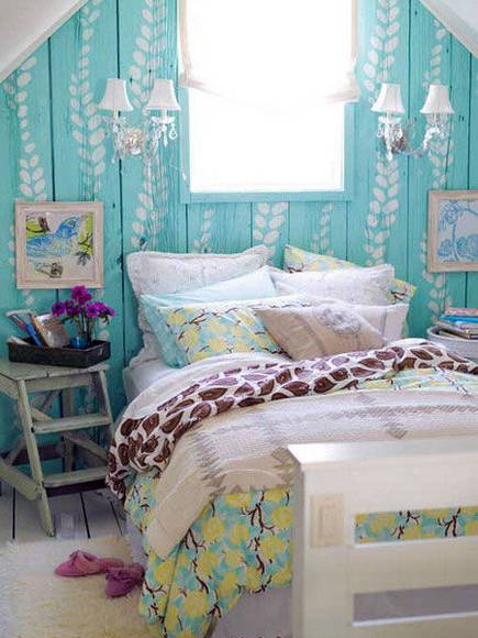 attic bedroom accent wall - cottage bedroom with turquoise stenciled walls - houseofturquoise via atticmag