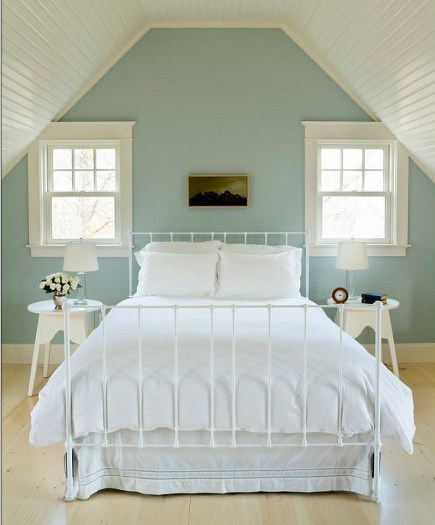 attic bedroom accent wall - bedroom with light blue painted accent wall - houzz via atticmag