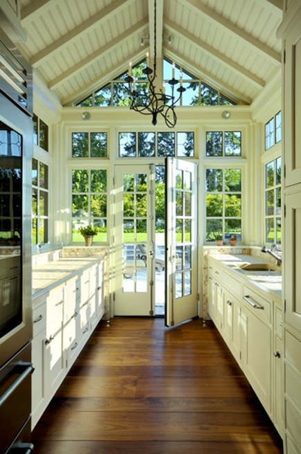 galley conservatory kitchen with planked ceiling - apartmenttherapy via atticmag