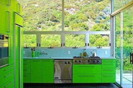 fluorescent green modern conservatory kitchen - brucebolander via atticmag
