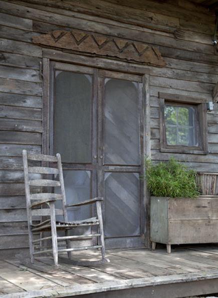 Front porch of an antebellum Georgia dogtrot house - gardenandgun via atticmag