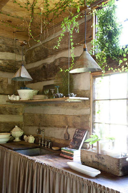 Sink wall of a log cabin converted to a kitchen of an antebellum Georgia dogtrot house