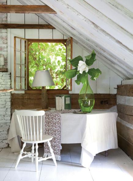Draped table in the master bedroom of an antebellum Georgia dogtrot house - gardenandgun via atticmag