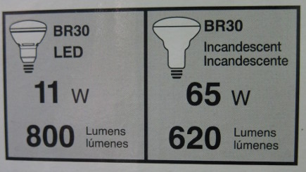 LED light bulbs - Sylvania 65 watt LED replacement light bulb chart with comparison to incandescent - Atticmag