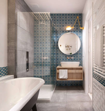 bathroom accent wall - blue and white geometric pattern tile on a vanity wall - architizer via atticmag