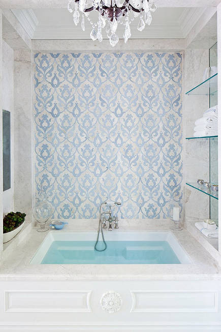 bathroom accent wall - blue and cream pomegranate damask mosaic on a bathtub wall - sfadesign via atticmag