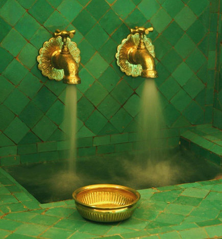 exotic sink faucets - Moroccan faucets on green zellige tile - pinterest via atticmag