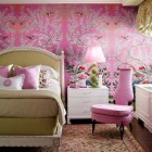 shocking pink rooms - shocking pink antique Chinese handpainted wallpaper - antique-wallpaper.com via atticmag