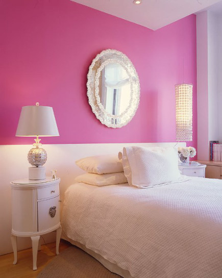 shocking pink rooms - shocking pink and white girl's room - bno design via atticmag
