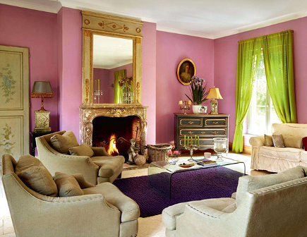 shocking pink rooms - shocking pink living room in a French house - period living via atticmag