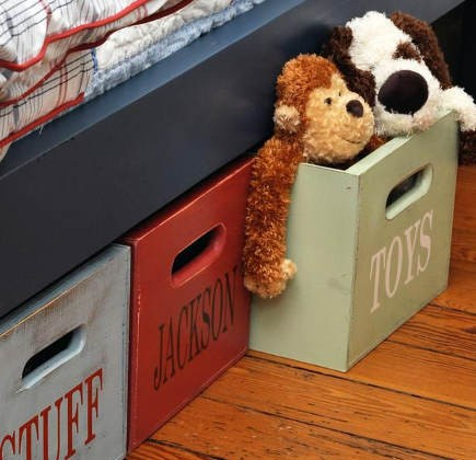 kids room decor - stenciled under bed storage bins - hgtv via atticmag