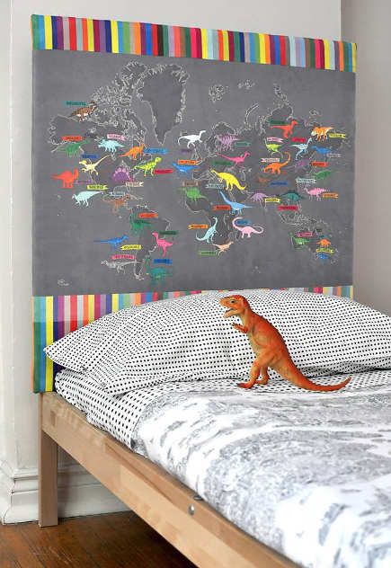 kids room decor - dinomap upholstered headboard - spoonflower via atticmag