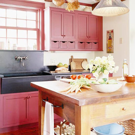 Red Country Kitchens Kitchen Cabinets With Black Soapstone Sink Bh G Via Atticmag