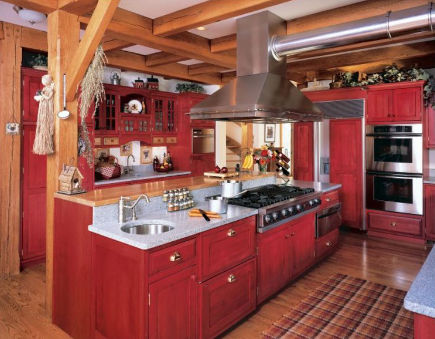 red country kitchens - red vintage look kitchen range island - kleppinger design via atticmag