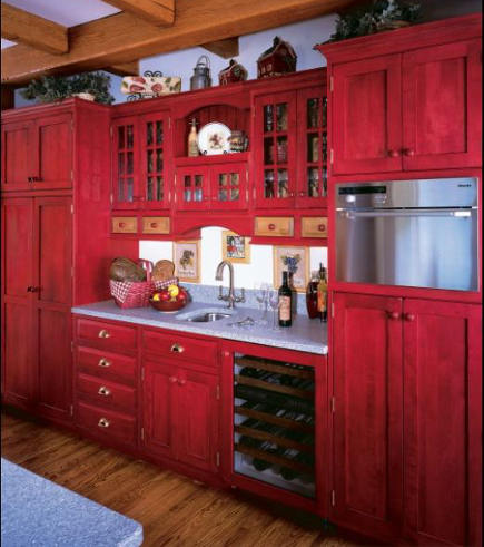 red country kitchens - red vintage look kitchen prep sink wall - kleppinger design via atticmag