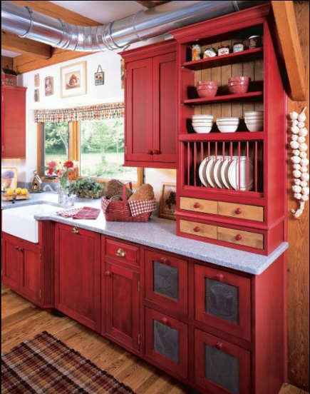 red country kitchens - red vintage look kitchen sink wall - kleppinger design via atticmag